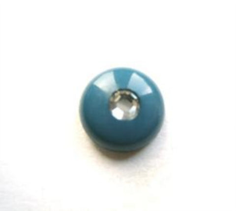 B11421 11mm Deep Kingfisher Shank Button with a Diamonte Jewel Centre - Ribbonmoon