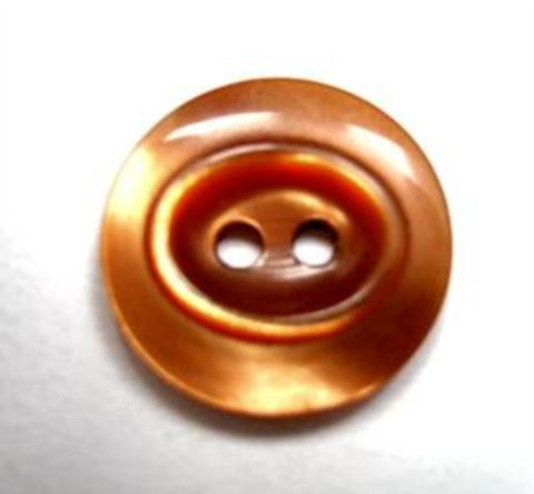 B16408 19mm Tonal Sable Brown Pearlised Oval Centre 2 Hole Button - Ribbonmoon