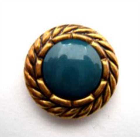 B14962 18mm Deep Jade Green and Gilded Metallic Poly Shank Button