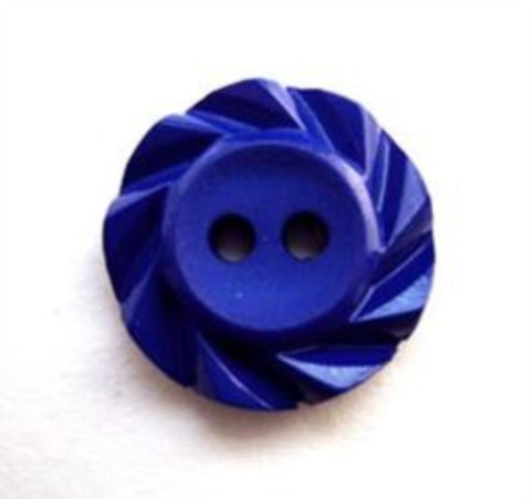 B13173 17mm Dark Royal Blue 2 Hole Button with a Fluted Edge - Ribbonmoon