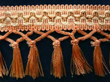 FT501 9cm Apricot, Pear and Metallic Gold Tassel Fringe on a Decorated Braid - Ribbonmoon