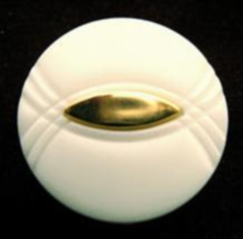 B14797 20mm White Shank Button, Gilded Gold Poly Centre - Ribbonmoon