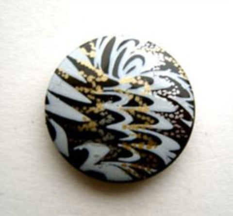 B9461 19mm Black, Gold and Pale Blue Shank Button - Ribbonmoon