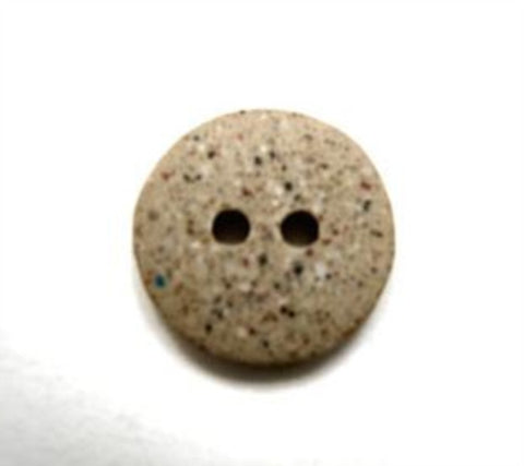 B16642 15mm Stone Beige Speckled Soft Sheen 2 Hole Button - Ribbonmoon