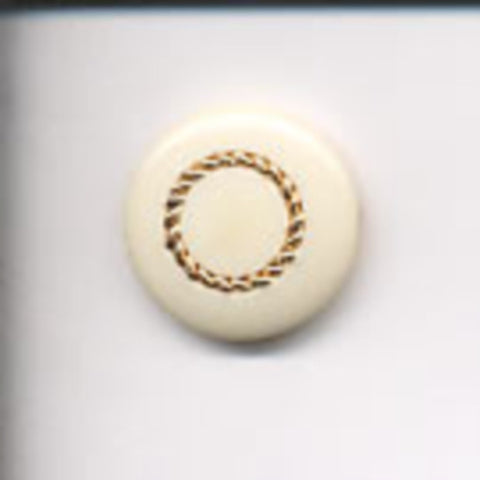 B6162 22mm Cream and Gilded Copper Button, Hole Built into the Back - Ribbonmoon