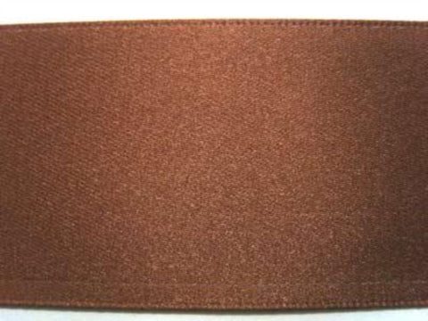 R2864 25mm Chestnut Brown Double Faced Satin Ribbon by Berisfords - Ribbonmoon