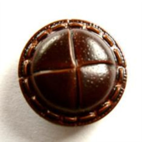B13905 19mm Chestnut Brown Leather Effect Shank Button - Ribbonmoon