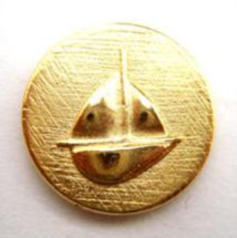 B14639 22mm Pale Gold Metal Alloy Shank Button, Boat Design - Ribbonmoon