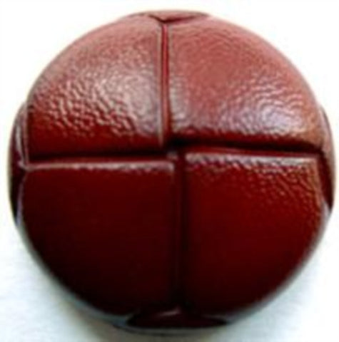 "B9380 23mm Dark Rust Brown Leather Effect ""Football"" Shank Button - Ribbonmoon"