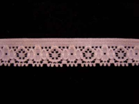 L280 14mm Pale Azalea Pink Lightly Elasticated Flat Lace - Ribbonmoon
