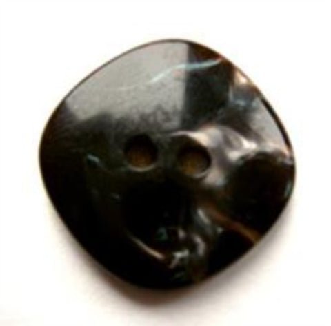 B17713 19mm Black and Pearlised Brown Glossy 2 Hole Button - Ribbonmoon
