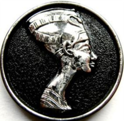 B10687 39mm Black and Metallic Silver Egyptian Design Shank Button - Ribbonmoon