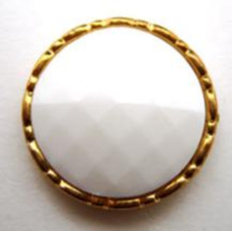 B14796 21mm White Honeycomb Shank Button, Gilded Gold Poly Rim
