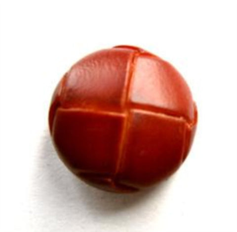 "B13865 17mm Rust Brown Leather Effect ""Football"" Shank Button - Ribbonmoon"