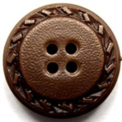 B15456 24mm Brown Leather Effect 4 Hole Button - Ribbonmoon