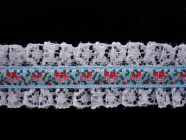 L026 23mm Pale Blue Woven Jacquard over a White Lace - Ribbonmoon