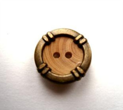 B17611 15mm Pine Wood 2 Hole Button with a Brass Metal Rim - Ribbonmoon