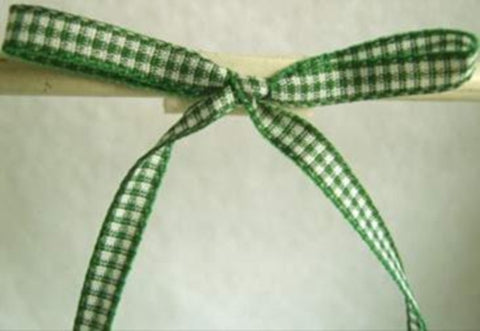 R1752 5mm Deep Green and White Gingham Ribbon - Ribbonmoon