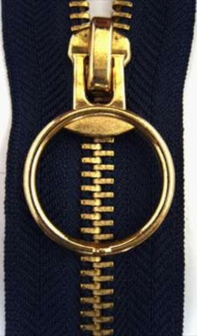 Z2857 30cm Navy No.5 Closed End Zip with Brass Teeth - Ribbonmoon