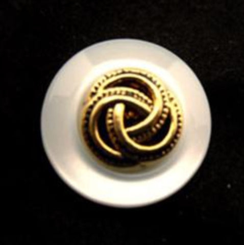 B14911 17mm Pearl White and Gilded Gold Poly Shank Button - Ribbonmoon