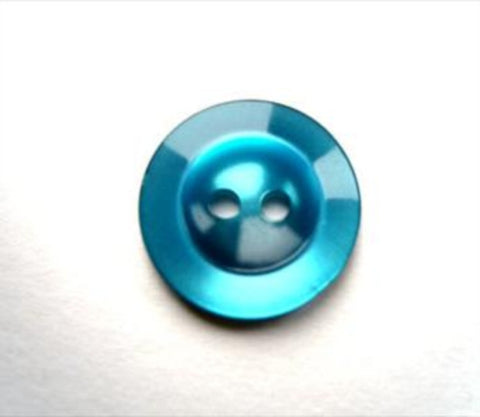 B17548 14mm Tonal Kingfisher Pearlised Polyester 2 Hole Button - Ribbonmoon