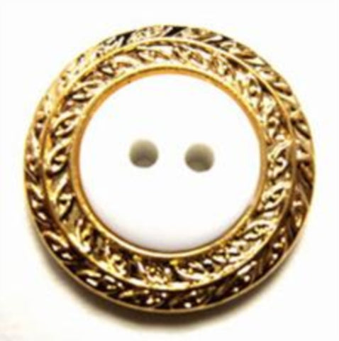 B10976 21mm White Glossy Button with a Gilded Gold Poly Rim - Ribbonmoon