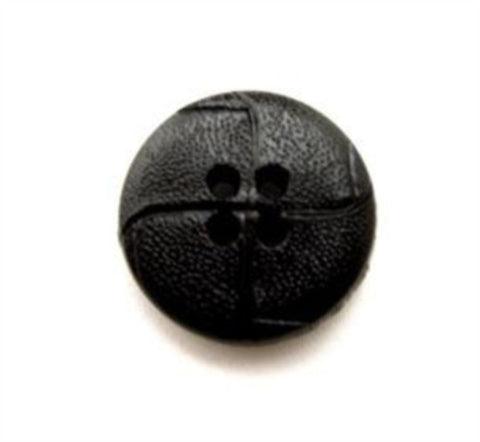 B10823 15mm Black Leather Effect 4 Hole Button - Ribbonmoon
