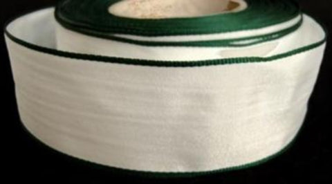R7518 29mm White Polyester Ribbon with Hunter Green Borders - Ribbonmoon