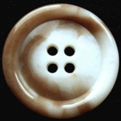 B17811 25mm Beige and Natural White Gloss 4 Hole Button - Ribbonmoon