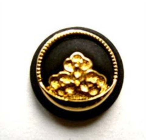 B10991 18mm Matt Black and Gilded Gold Shank Button - Ribbonmoon