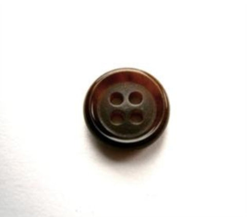 B17584 11mm Dark and Chestnut Brown 4 Hole Button - Ribbonmoon