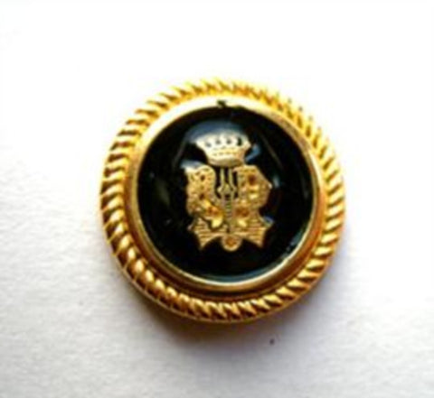 B6549 18mm Gold Metal Alloy Shank Button with a Glossy Black Faux Enamel - Ribbonmoon