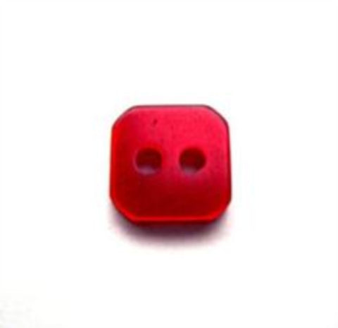 B10207 10mm Red Polyetsr Square Shaped 2 Hole Button - Ribbonmoon