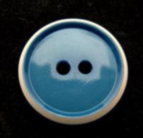 B10634 19mm Deep Wedgewood Blue and Natural Glossy 2 Hole Button - Ribbonmoon