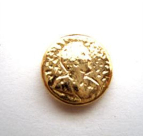 B15004 13mm Gold Plated Heavy Metal Alloy Shank Button,Old Coin Design - Ribbonmoon