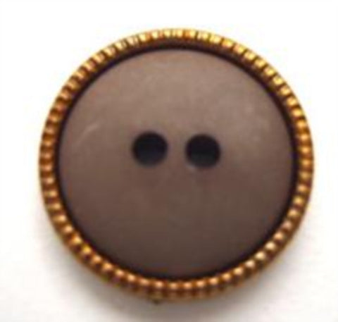 B9972 18mm Brown Matt 2 Hole Button with a Copper Gilded Poly Rim
