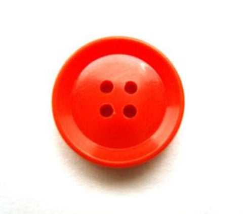 B11305 15mm Flame Orange Glossy 4 Hole Button - Ribbonmoon