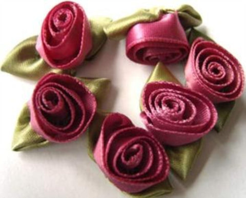 RB404 32mm Raspberry Pink Satin Ribbon Rose - Ribbonmoon