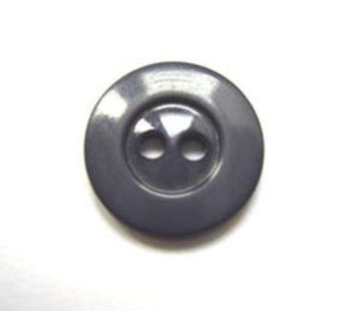 B11240 16mm Dark Grey Glossy 2 Hole BUtton - Ribbonmoon
