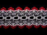 L253 35mm White and Red Eyelet or Knitting In Lace - Ribbonmoon