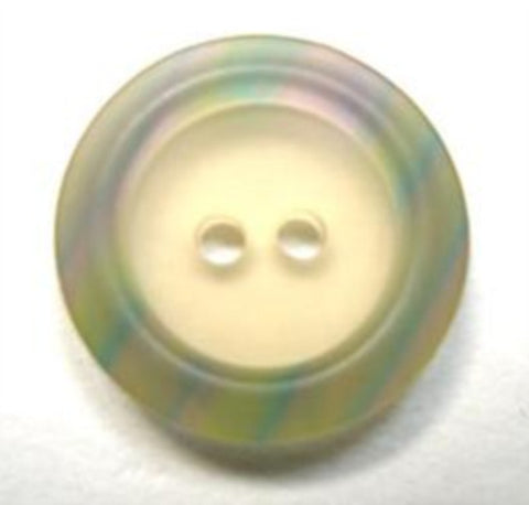 B16434 20mm Ivory Bone Sheen 2 Hole Button, Greens and Pink Rim - Ribbonmoon