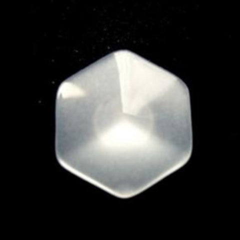 B12982 17mm Pearl White Hexagonal Shaped Polyester Shank Button - Ribbonmoon