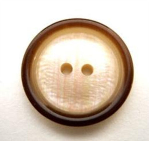B10896 18mm Cream Centre, Iridescence Brown Rim 2 Hole Button - Ribbonmoon