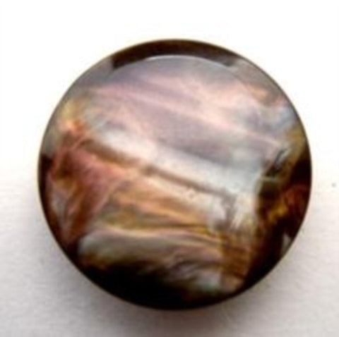 B15694 20mm Brown and Pearl Nacre Effect Button, Hole Built into the Back - Ribbonmoon