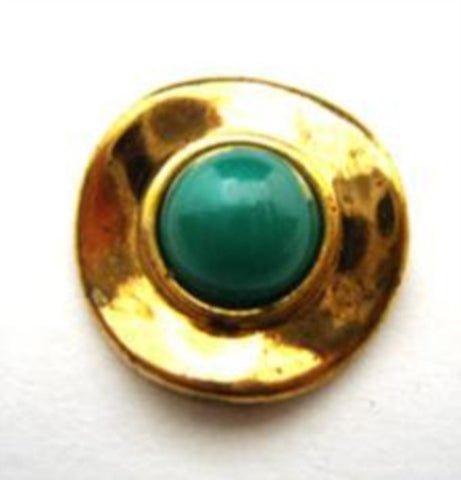 B14805 20mm Jade Green Half Ball Shank Button with a Gilded Poly Rim - Ribbonmoon