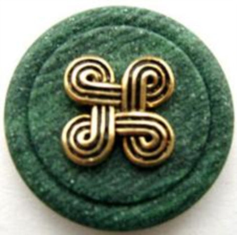 B14618 23mm Matt Wood Effect Green and Gilded Gold Poly Shank Button - Ribbonmoon