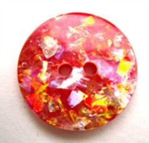 B13724 20mm Hologram Glitter under a Clear Surface 2 Hole Button - Ribbonmoon