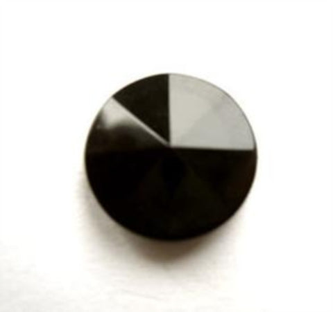 B13017 15mm Black Gloss Shank Button, Sectional Rising to Centre Point - Ribbonmoon
