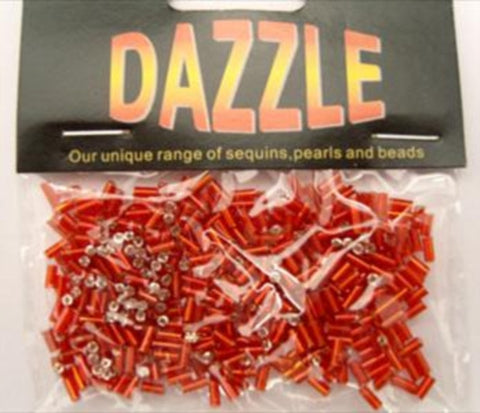 BEAD14 5mm Red Bugle Beads Size 2 - Ribbonmoon