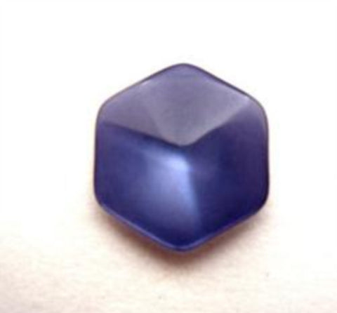 B16360 15mm Moonlight Blue Polyester Hexagon Shape Shank Button - Ribbonmoon